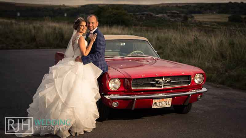 Red Ford Mustang wedding car