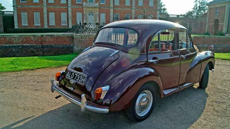 Red Morris Minor hire car